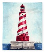 White Shoal Lighthouse Michigan Nautical Light House Red And White Candycane Stripes Fleece Blanket