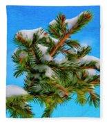 White Snow On Evergreen Fleece Blanket