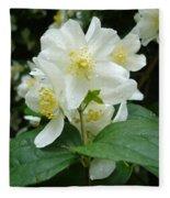 White Spring Blossom Fleece Blanket