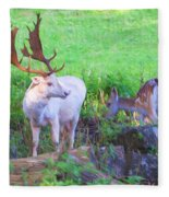 White Stag And Hind 2 Fleece Blanket