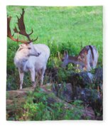 White Stag And Hind Fleece Blanket