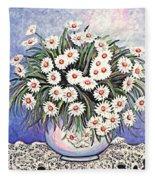 White Straw Flowers Two Fleece Blanket