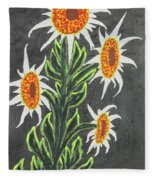 White Sunflowers Fleece Blanket