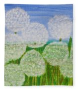White Sunflowers, Painting Fleece Blanket