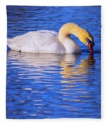 White Swan Drinking Water In A Pond Fleece Blanket