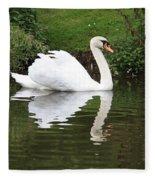 White Swan In Belgium Park Fleece Blanket