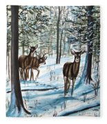 White Tail Deer In Winter Fleece Blanket