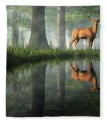 White Tailed Deer Reflected Fleece Blanket