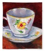 White Tea Cup With Yellow Flowers Grace Venditti Montreal Art Fleece Blanket