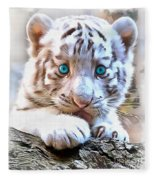 White Tiger Cub Fleece Blanket