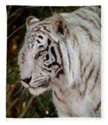 White Tiger Portrait 2 Fleece Blanket