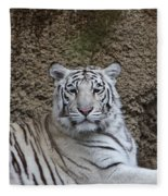 White Tiger Resting Fleece Blanket