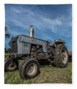 White Tractor Fleece Blanket