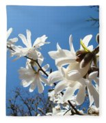 White Tree Flowers Art Prints Magnolia Blue Sky Floral Baslee Troutman Fleece Blanket