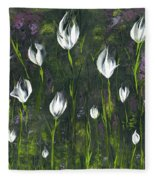 White Tulip Garden Fleece Blanket