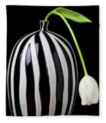White Tulip In Striped Vase Fleece Blanket