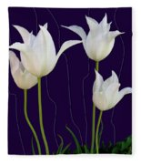 White Tulips For A New Age Fleece Blanket