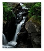 White Water Black Rocks Fleece Blanket