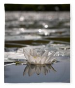 White Waterlily 3 Fleece Blanket