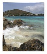 White Waves Crashing Fleece Blanket