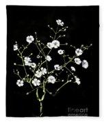 White Wild Flowers Fleece Blanket
