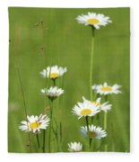 White Wild Flowers Nature Spring Scene Fleece Blanket