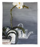White Wild Orchid Fleece Blanket