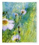 White Wild Poppies Fleece Blanket