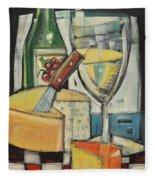 White Wine And Cheese Fleece Blanket