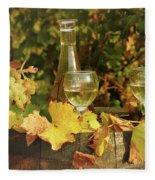 White Wine And Grape In Vineyard Fleece Blanket