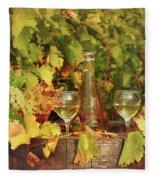 White Wine And Vineyard Autumn Season Fleece Blanket