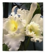 White With Yellow Orchids  Fleece Blanket