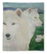 White Wolves Guarding Their Pups Fleece Blanket