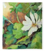 White Woodland Flower Fleece Blanket