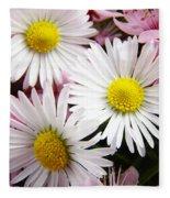 White Yellow Daisy Flowers Art Prints Pink Blossoms Fleece Blanket