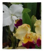 White Yellow Orchids Fleece Blanket