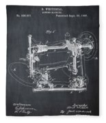 Whitehill Sewing Machine Patent 1885 Chalk Fleece Blanket