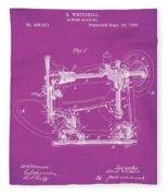 Whitehill Sewing Machine Patent 1885 Pink Fleece Blanket