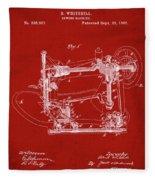 Whitehill Sewing Machine Patent 1885 Red Fleece Blanket