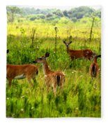Whitetail Deer Family Fleece Blanket