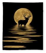 Whitetail Deer In The Moonlight Fleece Blanket