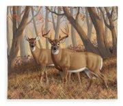 Whitetail Deer Painting - Fall Flame Fleece Blanket