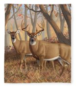 Whitetail Deer Painting - Fall Flame Fleece Blanket