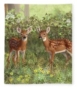 Whitetail Deer Twin Fawns Fleece Blanket