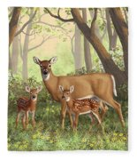 Whitetail Doe And Fawns - Mom's Little Spring Blossoms Fleece Blanket