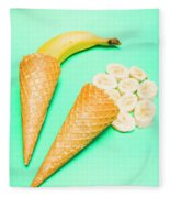 Whole Bannana And Slices Placed In Ice Cream Cone Fleece Blanket