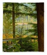Whonnock Lake Through The Trees Fleece Blanket