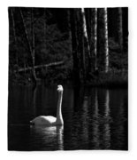 Whooper Swan In Bw 1 Fleece Blanket
