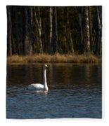 Whooper Swan Of Liesilampi 3 Fleece Blanket