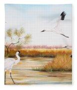 Whooping Cranes-jp3151 Fleece Blanket
